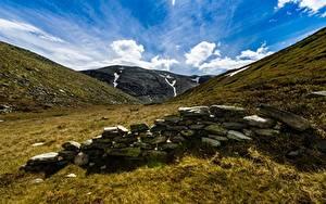 Картинка Небо Горы Камень Парки Норвегия Rondane National Park Природа