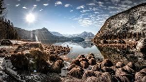 Картинка Небо Камень Гора Озеро Австрия Пейзаж Солнца Styria, Altaussee