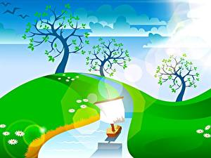 Фотография Небо Лето Векторная графика Дерево Ручей Облако Природа