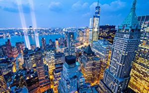 Фотографии Небоскребы Дома Америка Нью-Йорк Сверху Ночные город