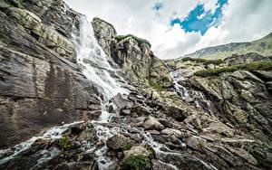Фотографии Словакия Водопады Камень Гора Утес Waterfall Skok, Tatra mountains