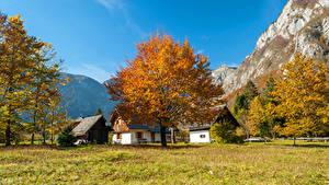 Картинки Словения Осень Дома Гора Дерева Bohinj Города