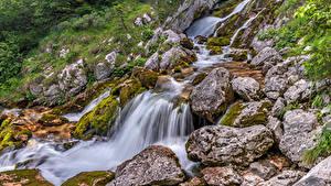 Обои Словения Леса Камни Водопады Дерева Ручей Soča river, Tolmin Природа