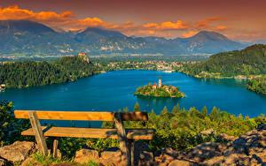 Обои Словения Озеро Здания Остров Пейзаж Скамейка Bled Города