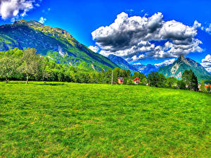 Картинки Словения Пейзаж Гора Небо HDRI Траве Деревьев Облака Tolmin Bovec Природа