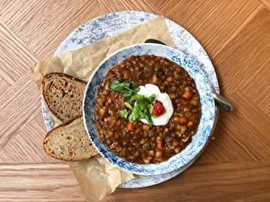 Картинка Супы Хлеб Тарелка Продукты питания