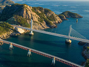 Картинки Южная Корея Мосты Заливы Скала Сверху Seonyudo Island Природа