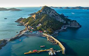 Фотография Южная Корея Остров Побережье Здания Причалы Скала Seonyudo Island Города