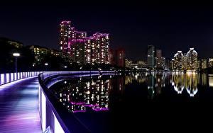 Фотография Южная Корея Небоскребы Ночные Набережной city of Suwon, Gyeonggi province
