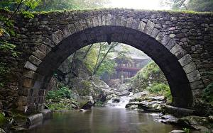Картинки Южная Корея Храмы Парки Мосты Камень Ручей Арка Gangwon-do