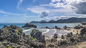 Фотографии Испания Берег Волны Заливы Скала Cantabria Природа