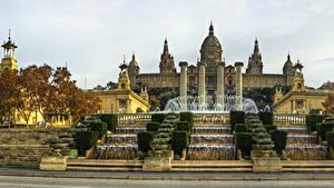 Фотография Испания Фонтаны Водопады Барселона Дворец Лестница National Palace Города