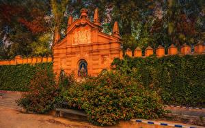 Фото Испания Сады Кустов Скамья Murillo Gardens Природа
