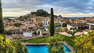 Картинка Испания Дома Деревьев Begur Catalonia город