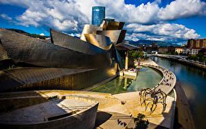 Фото Испания Дома Облака Bilbao Города