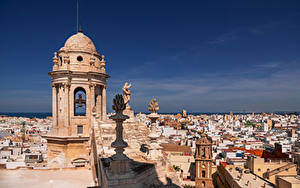 Картинка Испания Здания Собор Скульптура Catedral de Cádiz город