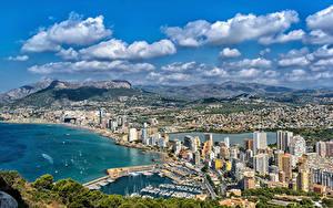 Фотографии Испания Дома Берег Причалы Холм Calpe Alicante Города