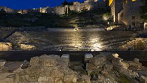 Фотография Испания Дома Крепость Камни Лестницы Ночь Malaga Andalusia город
