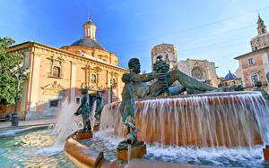 Фото Испания Дома Фонтаны Скульптуры Valencia город