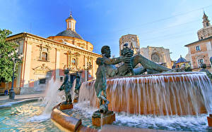 Фото Испания Дома Фонтаны Скульптура Valencia город