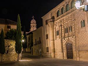Фотография Испания Здания Улица Ночью Уличные фонари Palace Jabalquinto Baeza Города