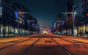 Фотография Испания Здания Дороги Вечер Улице Zaragoza город