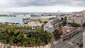 Фотография Испания Дома Дороги Причалы Корабль Городская площадь El Bulto Malaga Andalusia Города