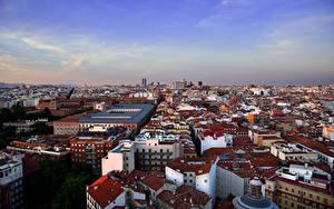 Картинки Испания Мадрид Дома Сверху город