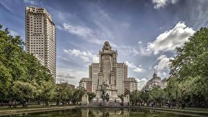 Обои Испания Мадрид Здания Памятники Пруд Monumento a Miguel de Cervantes Города