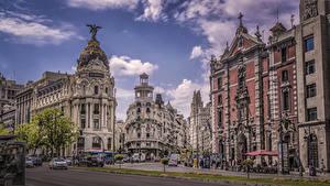 Фотографии Испания Мадрид Здания Улица город