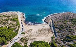Фотография Испания Мальорка Майорка Берег Волны Дороги Сверху Arta Природа