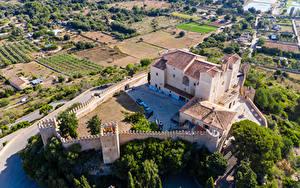 Обои Испания Мальорка Майорка Монастырь Здания Ограда Сверху Sant Salvador город