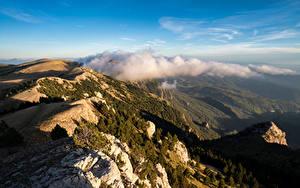 Фотография Испания Горы Облака Сверху Catalonia