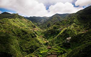 Обои Испания Горы Поля Tenerife, Macizo de Anaga