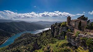 Фотография Испания Гора Речка Облака La Siurana, Catalonia Природа