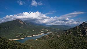 Обои Испания Горы Небо Облачно Сверху Catalonia