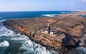 Картинки Испания Океан Маяк Канарские острова Сверху Fuerteventura, Punta Jandía Lighthouse Природа