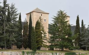 Картинка Испания Храмы Монастырь Дома Ели Monestir de Santa Maria de Poblet Города