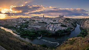 Обои Испания Толедо Дома Речка Вечер город
