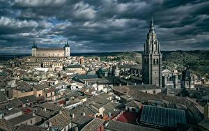 Фотография Испания Толедо Здания Башни Облачно Сверху город