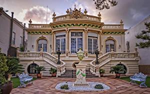 Фото Испания Вилла Скульптуры Дизайн Лестницы Скамейка Уличные фонари VillaVilla 1911 BenicàssimVilla Victoria Города