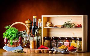 Фотографии Специи Укроп Банке Бутылки Еда