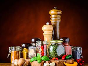 Фотографии Приправы Перец овощной Чеснок Грибы Банки Пища