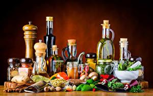 Картинка Специи Овощи Грибы Бутылка Банки Еда