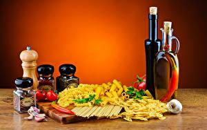 Фотографии Пряности Овощи Чеснок Макароны Бутылки Банки Еда