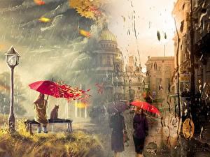 Фотография Санкт-Петербург Дождь Картина Россия Зонтик Уличные фонари Улиц Скамья город Девушки