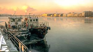 Картинка Санкт-Петербург Россия Корабль Реки Города