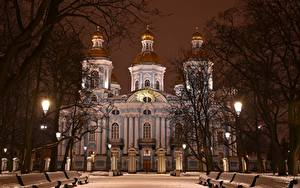 Картинки Санкт-Петербург Россия Зима Собор Ночные Скамейка Снега Дерева St. Nicholas Naval Cathedral Города