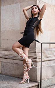 Картинки Модель Поза Платье Ног Stefania девушка