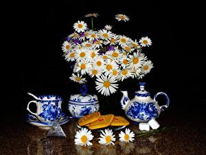 Обои Натюрморт Букеты Ромашки Чайник Печенье Черный фон Чашка Продукты питания Цветы